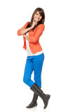 Full length of young female in boots Royalty Free Stock Image