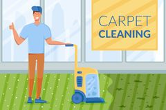 Full length of young man cleaning carpet vector illustration