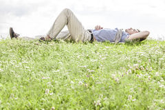 Full length of young man lying on grass against sky Stock Image