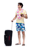 Full length of young man with travel bag Royalty Free Stock Photo