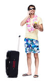 Full length of young man with travel bag Royalty Free Stock Images