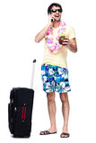 Full length of young man with travel bag Stock Photos