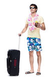 Full length of young man with travel bag Royalty Free Stock Photography