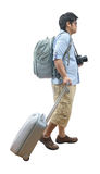 Full length of young traveler with suitcase and camera Stock Image