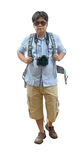 Full length of young traveler with suitcase and camera Stock Images