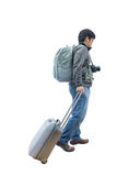 Full length of young traveler with suitcase and camera Stock Photo