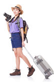Full length of young woman in casual walking with the travel bag Stock Photos