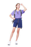 Full length of young woman in casual walking with the travel bag Stock Photo