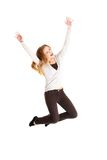 Full length young woman jumping Royalty Free Stock Photo