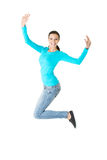 Full length young woman jumping Stock Images