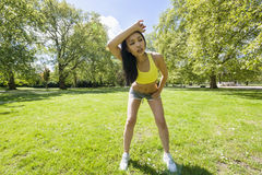 Full length of young woman looking away while exercising in park Stock Photos