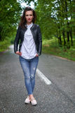 Full length of a young woman outdoor Stock Image