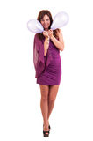 Full length young woman with pink balloons as a present for birt Royalty Free Stock Photo