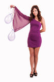 Full length young woman with pink balloons as a present for birt Stock Photo