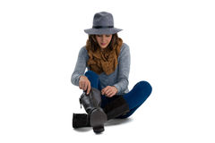 Full length young woman wearing boots Stock Photography