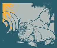 Full of life a60. Simple illustration for sealion with swirl background Vector Illustration