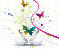 Full of life b02. Easter illustration with floral, eggs and butterflies Royalty Free Stock Photo