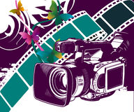 Full of life F02. Colored graphic elements, minidv camera with colored butterflies Royalty Free Stock Photo
