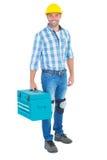 Full längdstående av repairmanen med toolboxen Fotografering för Bildbyråer