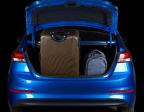 Full loaded car sedan trunk Stock Photos