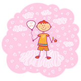 Full in love boy with a balloon and a flower Stock Photography