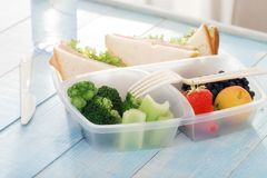 Full lunch box of healthy food close up Stock Photo