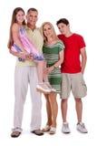 full lycklig längd för familj som ser dig Arkivfoton