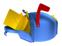 Full mailbox. Overflowing blue mailbox with yellow mails Stock Images