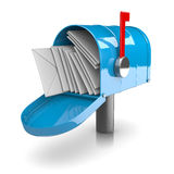 Full Mailbox. Full Blue Mailbox on White Background 3D Illustration vector illustration