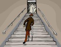 Full man på trappa Arkivfoto