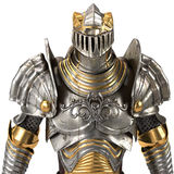 Full medieval iron suit, isolated on a white background. 3d illustration Stock Photo