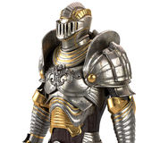 Full medieval iron suit, isolated on a white background. 3d illustration Stock Photos
