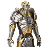 Full medieval iron suit, isolated on a white background. 3d illustration Royalty Free Stock Image