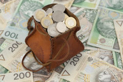 Coins and banknote. Full money-bag with coins on banknotes Royalty Free Stock Images