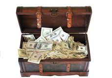 Full of money wooden chest Stock Photos