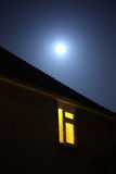 Full moon. Night scene with full moon and window Stock Photo