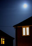 Full moon. Night scene with full moon and window Royalty Free Stock Photos