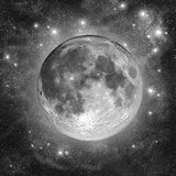 Full Moon. In the silver clouds of star dust Royalty Free Stock Photos