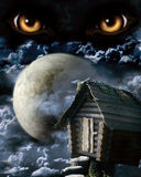 Full moon. Dark series - full moon. Horror in night Royalty Free Stock Photo