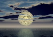 Full moon. The full moon above ocean covered by small clouds Stock Illustration