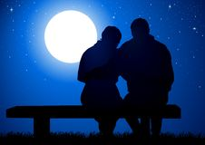 Full Moon. Silhouette illustration of a couple sitting on a bench Royalty Free Stock Photography
