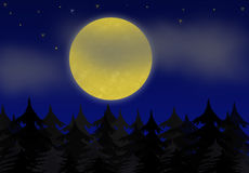 Full moon. On starry sky with light clouds Stock Photography