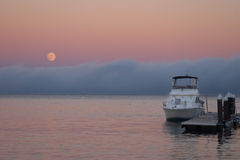 Full Moon. And fog over San Francisco Bay royalty free stock photography