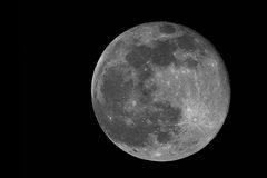 Full moon. Real image of the full moon taken with telescope Royalty Free Stock Image
