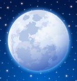 Full moon. On starry night sky background Stock Photos