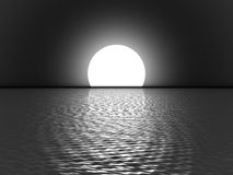 Full moon. Over the sea in the night Royalty Free Stock Photos