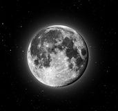 Full Moon. Glowing Full Moon with stars in the background stock images