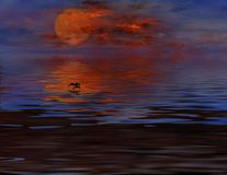 Full Moon. Rising From Water Stock Images