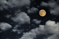 Full moon. On the night sky Royalty Free Stock Image