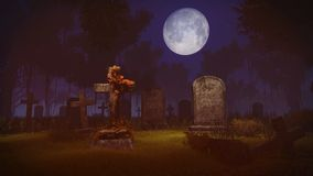Full moon above abandoned graveyard Stock Image